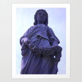 Female gravestone statue with garland Art Print