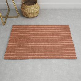 Boho, Minimal, Line Art, Stripes, Terracotta Rug