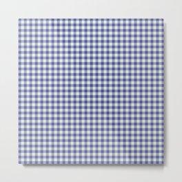 Gingham Blue - Mint Metal Print