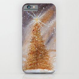 Magical Gold Christmas Tree in Snowy Night Watercolor iPhone Case