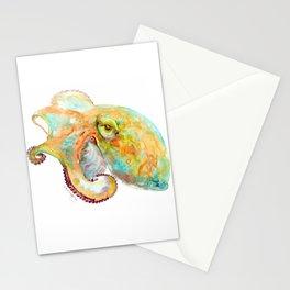 Turquoise-Orange Octopus Stationery Cards