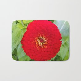 Bloomed Red Zinnia Flower Bath Mat