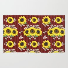 The Striped Red Fresh Sunflower Seamless Pattern Rug