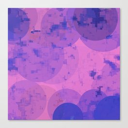 geometric circle and square pattern abstract in pink purple Canvas Print