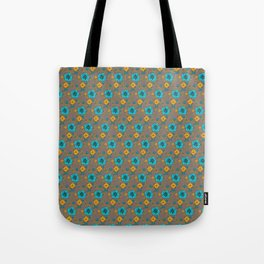 Funky Yellow & Blue Flowers Tote Bag