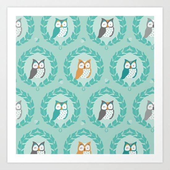 Sweet Owlies - Dusk Art Print