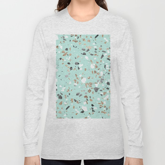 488fb5ccfcd8 Glitter and Grit Marble Mint Green Long Sleeve T-shirt by ...