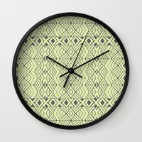 lime green Wall Clocks featuring Lime Green Aztec by Pom Graphic Design
