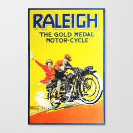 Raleigh Motorcycle, vintage poster Canvas Print