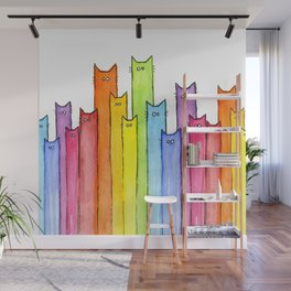 Cat Rainbow Watercolor Pattern Wall Mural