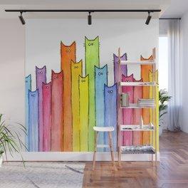 Cat Rainbow Watercolor Pattern Wall Mural