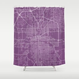 Fort Wayne Map, USA - Purple Shower Curtain