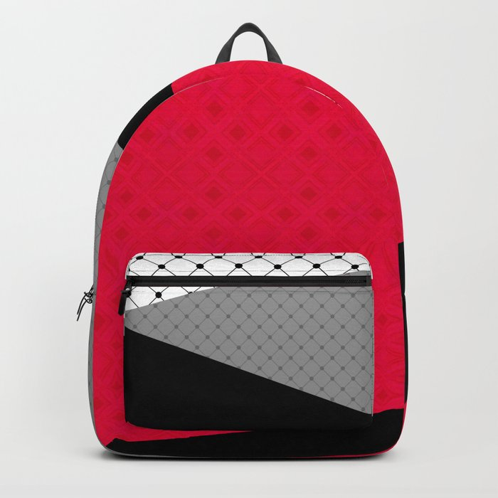 Red black white abstract . Backpack