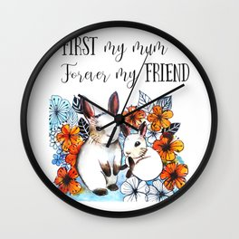 Bunny Mummy and Baby Wall Clock