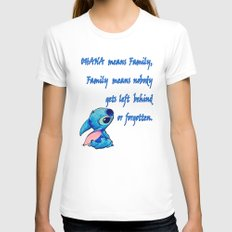 Lilo & Stitch - Ohana Quote LARGE White Womens Fitted Tee