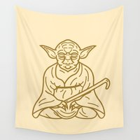 yoda Wall Tapestries featuring Yoda by Roland Banrevi