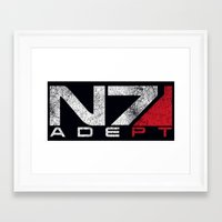 n7 Framed Art Prints featuring N7 Adept by Draygin82