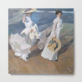Joaquín Sorolla y Bastida - Strolling along the Seashore Metal Print