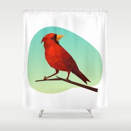 Low-poly Red Bird Shower Curtain