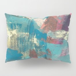 Sugar Rush [2]: a colorful, abstract mixed media piece in pinks, blues, and gold Pillow Sham