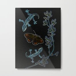 Butterfly With Geckos Metal Print