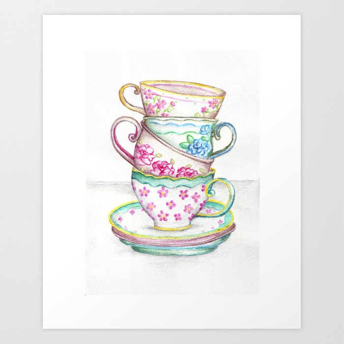 Tea Cup Art Kitchen Watercolor Painting Drawing Art Print By Josiemaedesign Society6