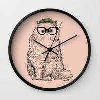 persian Wall Clocks featuring Hipster Persian Cat by Huebucket