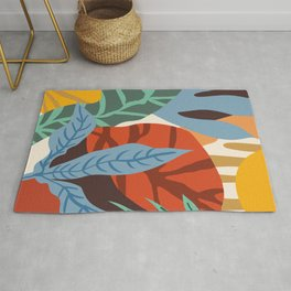 Bloom With Grace, Abstract Botanical Nature Painting, Colorful Eclectic Illustration Modern Rug