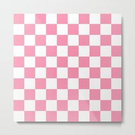 Pink Checkers Metal Print