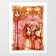 Much Ado About Nothing - Masquerade - Shakespeare Folio Illustration Art Print