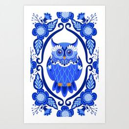 Delft Blue and White Owls and Flowers Art Print