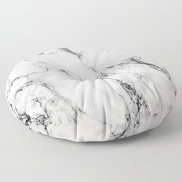 White Faux Marble Texture Floor Pillow