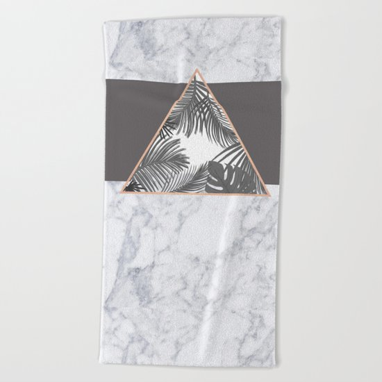 Tropical Marble Blush Pink Gray Copper Beach Towel