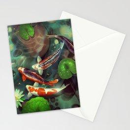 Nishikigoi - Koi - goi - Japanese carp - Kois - water lilies - Seerosen - Fisch - fish - Koi pond - japanische  Karpfen Stationery Cards