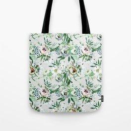 Elegant botanical blush pink pastel green watercolor floral Tote Bag