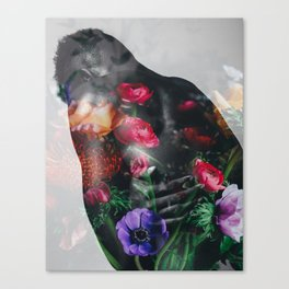Man's back with flowers Canvas Print