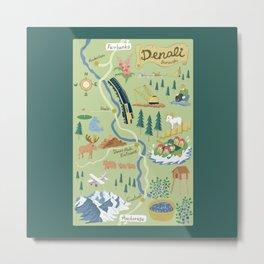 Denali Borough Map Metal Print