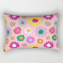 60's Daisy Crazy in Mod Pink Rectangular Pillow