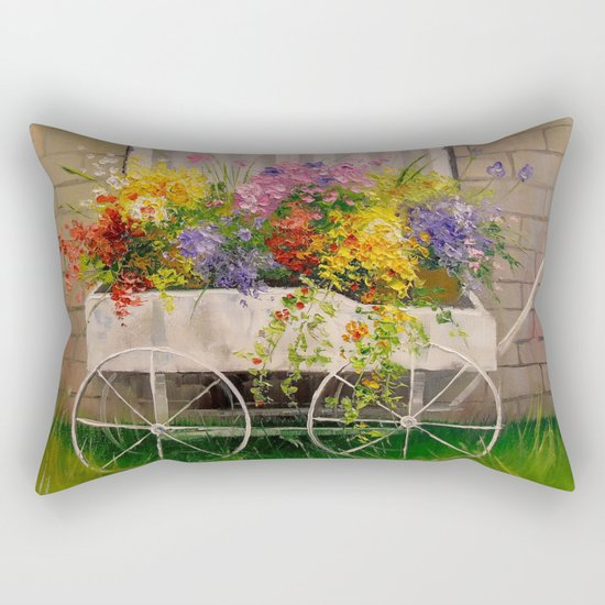 Old wagon with flowers Rectangular Pillow