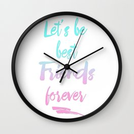 Best Friends Forever Faux Glitter Quote Wall Clock