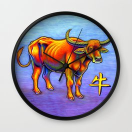 Chinese Zodiac Year of the Ox Colorful Bull Wall Clock
