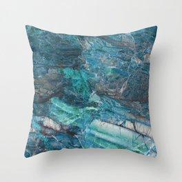 Siena turchese - blue marble Throw Pillow