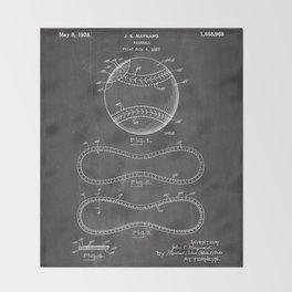 Baseball Patent - Softball Art - Black Chalkboard Throw Blanket