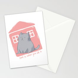 Home is where your cat is Stationery Cards