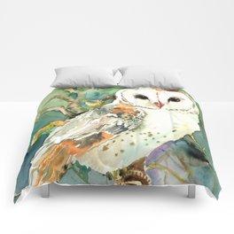 Barn Owl, woodland design owl Comforters