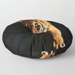 Portrait of a tiger prowling through the dark. Panthera tigris altaica. tiger on hunt  Floor Pillow