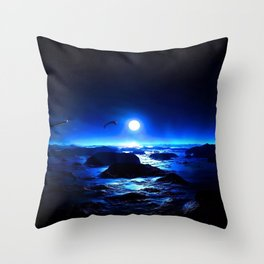 Magnificent Warrior Standing At Rocky Sea Shore Night Ultra HD Throw Pillow