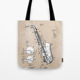 patent art Gillespie Saxophone 1945 Tote Bag