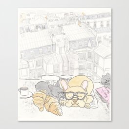 French Bulldogs Breakfast with Paris Rooftops View Canvas Print
