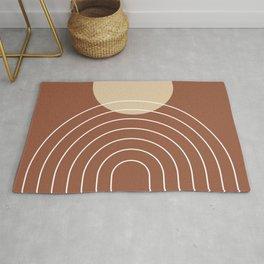 Mid Century Modern Geometric 3 (Terrocatta and beige) Rug